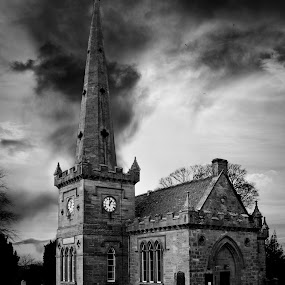 Saltoun Parrish Church by Jon Marshall - Buildings & Architecture Other Exteriors ( b&w, church )