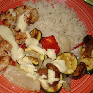 Grilled Chicken With Veggies and Honey Yogurt Dip.