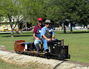 Photo: Engineer Pat Darby on Caleb Roberts train.  Phil Carter is the passenger.   HALS 25th Anniversary Meet 2016-1112 RPWhite