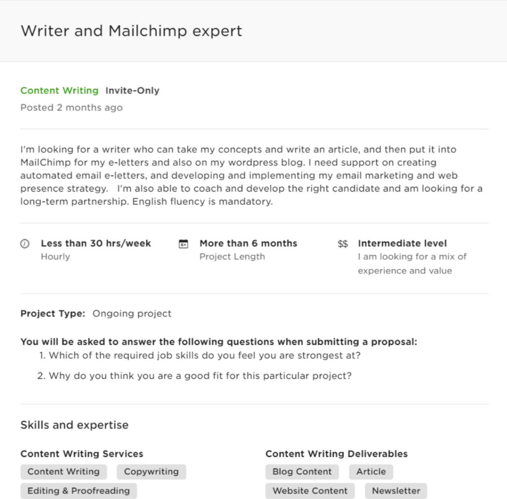 sample freelance proposal letter - project description example