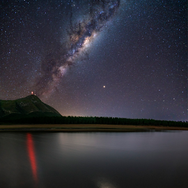 Reflect by Clive Wright - Landscapes Starscapes ( dam, milky way, mountain, reflection, night, stars, water )