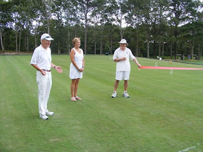 Photo: Bob Spalding acknowledges Debbie Crowell and her company for excavating a briar patch into a beautiful laser-leveled full-size croquet court.