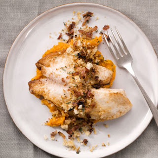 Tilapia and Mashed Yams with Pancetta-Sage Breadcrumbs.