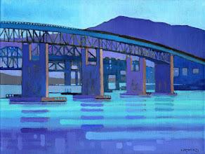 """Photo: """"Bridge Vista"""", Acrylic on Linen 12"""" x 16"""", © Nancy Roberts"""