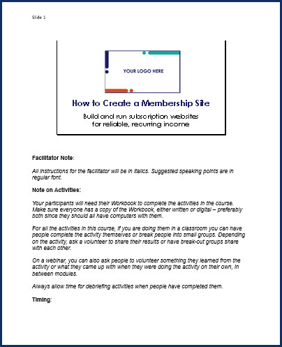 How to Create a Membership Site - Speaker Notes