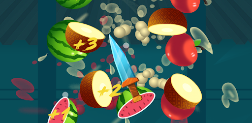In the game, use your knife to cut as much fruit as possible.