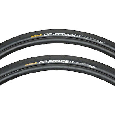 Continental Attack/Force III Front and Rear Tire Combo 700 x 23/25c, Black Chili