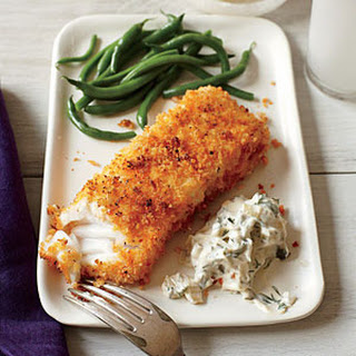 Crispy Fish with Lemon-Dill Sauce.