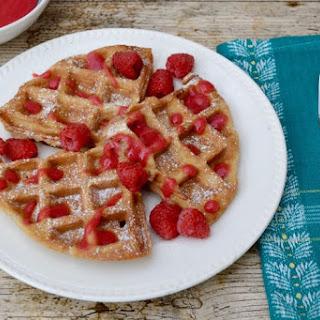 Spelt Waffles with Rose Raspberry Sauce.