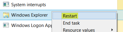 khởi động lại windows explorer
