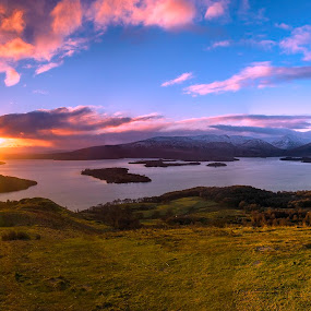 by Andrew Percival - Landscapes Sunsets & Sunrises ( clouds, scotland, mountains, winter, sunset, nikon, panorama )