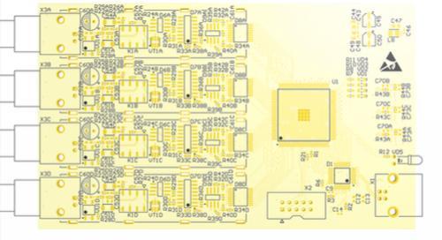 PCB-Bauteile und Bezeichnungen in einer Zeichnung