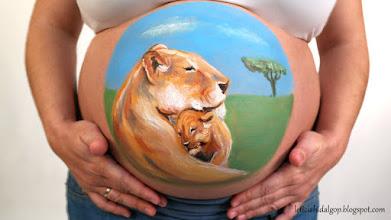 Photo: #bellypainting #zaragoza #leones