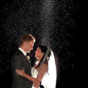 by Melissa Papaj - Wedding Bride & Groom ( love, vows, flash, night photography, wedding, bride, groom,  )
