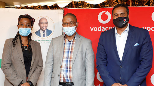 From left to right: Professor Sibusiso Moyo, deputy VC research, innovation and engagement at DUT; Kwazi Mshengu, MEC for education in KZN; and Chris Lazarus, managing executive for Vodacom KZN.