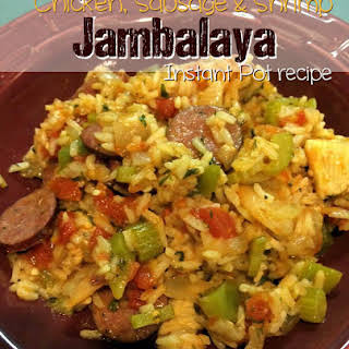 Pressure Cooker Chicken, Sausage and Shrimp Jambalaya - Instant Pot.