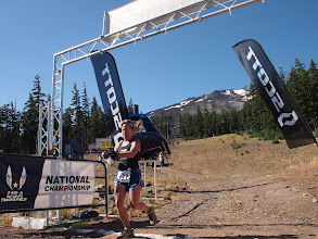Photo: Nancy Hobbs finishes the High Alpine Half Marathon