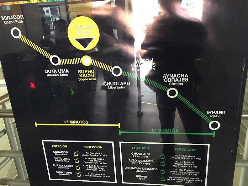 ラパスのロープウェーの黄色線と緑線の路線図