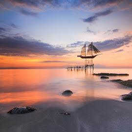 Boat In The Sky  by Luna Almira  Ali - Landscapes Sunsets & Sunrises