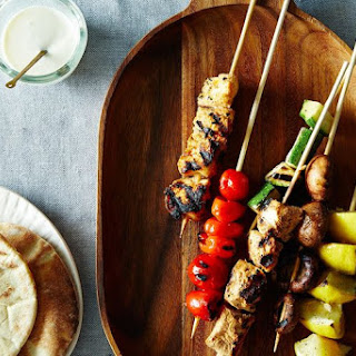 Shish Taouk with Toum (Chicken Kebabs with Garlic Sauce).