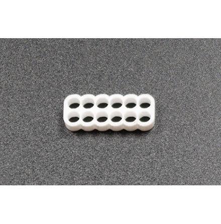 Kabelkam for 12 pins kabel, 2x6 Ø4mm hull, hvit