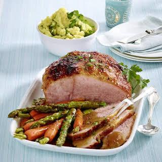 Glazed Ham with Arugula-Mashed Potatoes.