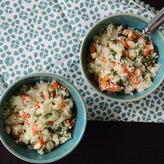 Cauliflower Couscous with Roasted Almonds and Apricots.