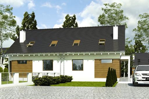 projekt Głuszec bez garażu bliźniak B-BL