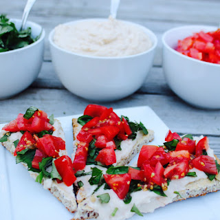 Garlicky White Bean Hummus Pizza with Tomatoes and Basil