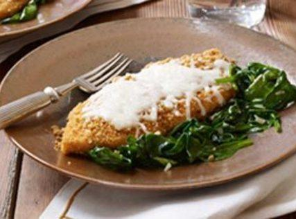 Kraft's Mozzarella Chicken With Garlic Spinach Recipe
