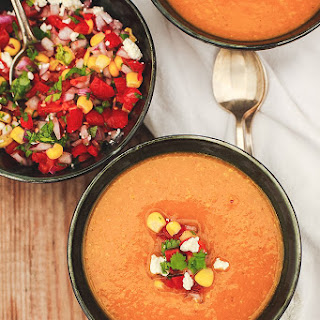 Butternut Squash Corn Chowder with Tomato and Corn Salsa