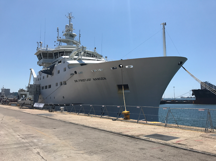 The Fridtjof Nansen research ship in Durban on 28 January 2018.