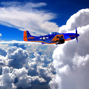 WWII P-51 MUSTANG FLYING IN THE CLOUDS by Gerry Slabaugh - Transportation Airplanes ( clouds, world war ii, flying, fighter plane, plane, wwii, fly, airplane, army airforce, p-51 mustang, fighter,  )