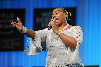 Photo: DAVOS/SWITZERLAND, 25JAN12 - Yvonne Ntombizodwa Chaka Chaka, Singer and President, Princess of Africa Foundation, South Africa sings during the Crystal Award Ceremony during the session 'Opening of the Annual Meeting 2012' at the Annual Meeting 2012 of the World Economic Forum at the congress centre in Davos, Switzerland, January 25, 2012.  Copyright by World Economic Forum swiss-image.ch/Photo by Michael Wuertenberg