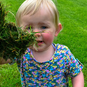 Amber with grass clump by Craig Payne - Babies & Children Toddlers ( grass, happy, green, flowers, toddler )