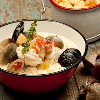 New England-Style Fish And Shellfish Chowder.