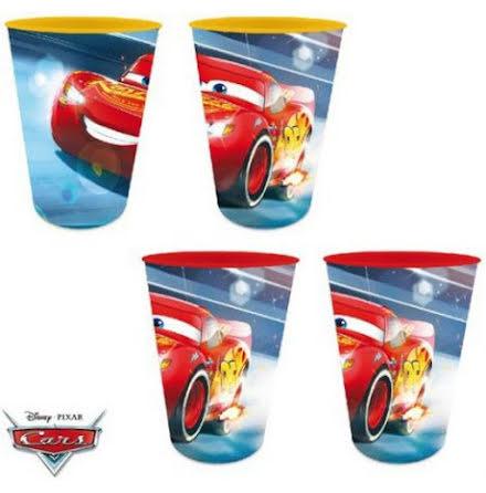 4-Pack Plastglas Cars/Bilar