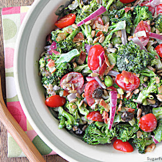 Mayo Free Broccoli Salad with Honey Yogurt Dressing.