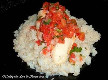 Poached Chicken with Smashed Cauliflower and Salsa