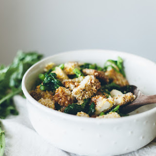 Garlic Sesame Broccoli Rabe with Panko Crusted Chicken