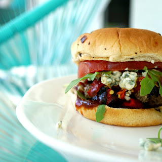Red, White and Blue Burgers Grilled on the Pitbarrel Cooker Recipe