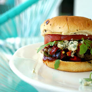 Red, White and Blue Burgers Grilled on the Pitbarrel Cooker.