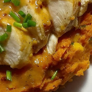 Sous Vide Honey Mustard Chicken Breast with Sweet Potato Mash.