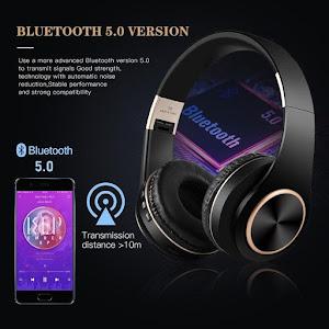 Casti Bluetooth T8 Stereo cu Microfon, Suport Card, Rosu