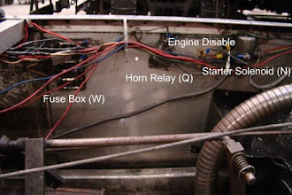 Photo: Photo of interior of left-side panel showing original placement from L-R of Fuse Box (W), Horn Relay (Q), engine disable/kill switch, and Starter Solenoid (N).  Photo by Jack Loucks.