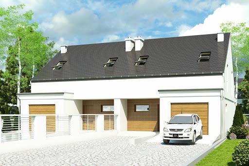 projekt Makolągwa z garażem 1-st. bliźniak A-BL2