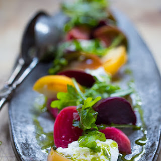 Heirloom tomato, Beet & Burrata salad w/ Basil oil