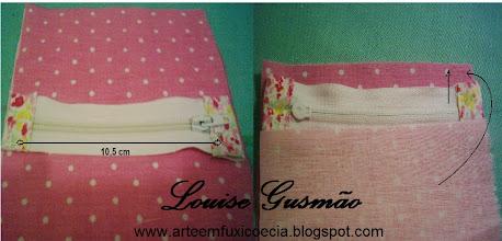 Photo: Corte os excessos do ziper e costure duas abinhas em suas extremidades com o mesmo tecido que será usado na parte de fora da carteira. Faça um sanduíche  tecido - ziper - tecido, posicionando o ziper na borda dos tecidos, como mostra a foto.