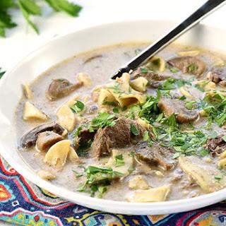 Slow Cooker Beef Stroganoff Soup.