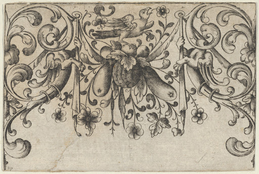 Design for Silverwork with Garlands, Birds, and Grotesque Motifs